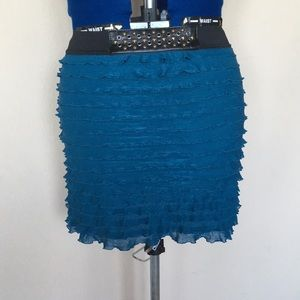 Lightly Used Aquamarine Ruffle Skirt